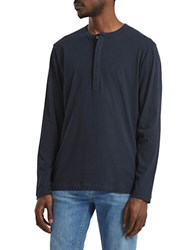 French Connection Long Sleeve Henley Blue