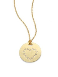 Roberto Coin Tiny Treasures Diamond And 18K Yellow Gold Heart Disc Pendant Necklace
