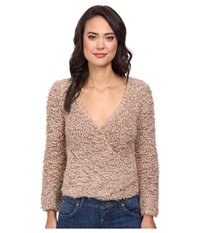 Free People Marshmallow Surplice Pullover Sweater Taupe Women's Sweater