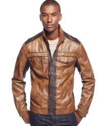 Inc International Concepts Jones Two Tone Faux Leather Jacket Only At Macy's