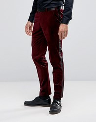 Asos Super Skinny Smart Velvet Trousers With Sateen Side Stripe In Red Red