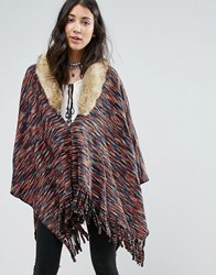 Raga On The Hunt Poncho With Faux Fur Collar Multi