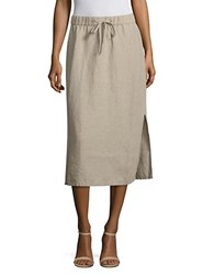 Eileen Fisher Organic Linen Drawstring Midi Skirt Undyed Natural