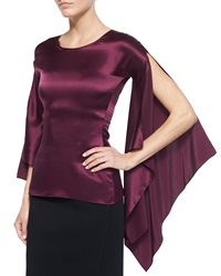 Zac Posen Long Sleeve Medieval Top Aubergine