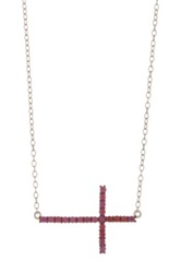 Pave Ruby Sideways Cross Pendant Necklace Red
