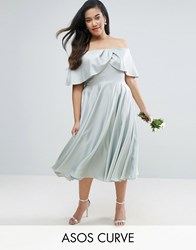 Asos Curve Wedding Bardot Fold Prom Midi Dress Mint Green