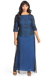 Plus Size Women's Alex Evenings Soutache Bodice Mock Two Piece Gown