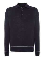 Peter Werth 1975 Merino Tipped Knitted Polo Shirt Navy
