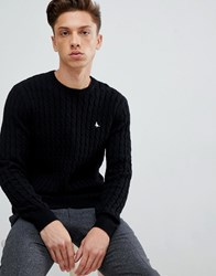 Jack Wills Marlow Cable Knit Wool Blend Jumper In Black