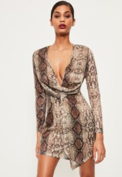 Missguided Nude Snake Sequin Wrap Front Dress