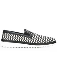 Dolce And Gabbana Chevron Pattern Slip On Sneakers Black