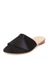Loeffler Randall Winnie Tassel Mule Slide Black Eclipse