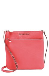 Michael Michael Kors 'Small Riley' Leather Crossbody Bag Coral Coral Silver