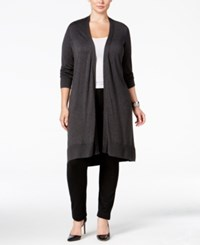 Alfani Plus Size Knee Length Cardigan Only At Macy's Coal Melange