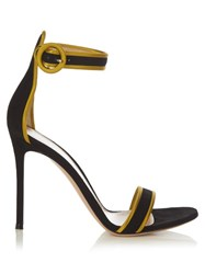 Gianvito Rossi Visconti Contrast Trimmed Suede Sandals Black Yellow
