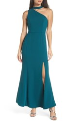 Harlyn One Shoulder Choker Collar Gown Forest Green