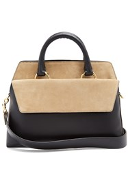 Diane Von Furstenberg Front Flap Satchel Large Leather And Suede Bag Black Beige