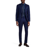 Isaia Sanita Stretch Wool Silk Two Button Suit Blue