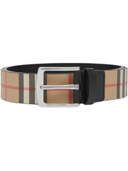 Burberry Vintage Check E Canvas And Leather Belt Brown
