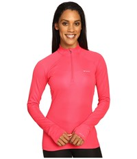 Columbia Heavyweight Ii Long Sleeve 1 2 Zip Punch Pink Women's Long Sleeve Pullover Red