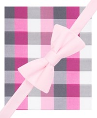 Alfani Spectrum Men's Howard Plaid Pre Tied Bow Tie And Pocket Square Set Only At Macy's Pink