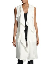 Haute Hippie Drapey Cargo Sleeveless Trench Coat White Black
