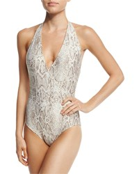 Carmen Marc Valvo Wild Story Halter One Piece Swimsuit Multi
