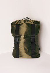 Missguided Satin Buckle Detail Backpack Green Olive