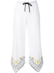 See By Chloe Floral Trim Drawstring Trousers White