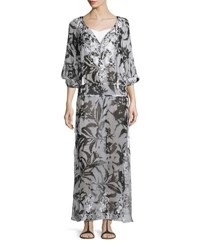 Marie France Van Damme Silk Chiffon Boho Maxi Coverup Dress White Black White Black