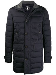 Save The Duck Button Up Padded Coat Blue