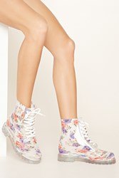 Forever 21 Lace Up Floral Rain Boots