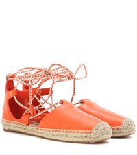 Tory Burch Positano Leather Lace Up Espadrilles Orange