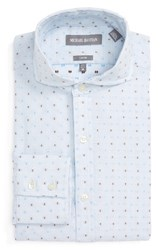 Michael Bastian Men's Big And Tall Trim Fit Graphic Dobby Dress Shirt White Blue Camel
