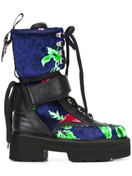 Msgm Strappy Floral Print Boots Blue