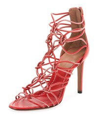 Alaia Elegant Knotted Cord Zip Sandals Red White