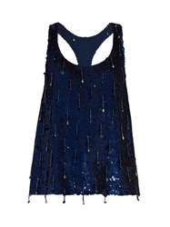 Ashish Sequin Embellished Scoop Neck Sleeveless Silk Top Navy