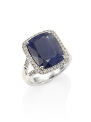 John Hardy Classic Chain Diamond Blue Sapphire And Sterling Silver Ring