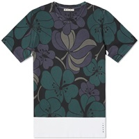 Marni Oriental Flower Print Tee White And Green