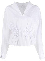 Stella Jean Long Sleeve Fitted Blouse White