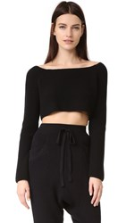 Baja East Long Sleeve Cashmere Crop Top Embassy