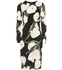 Dolce And Gabbana Floral Printed Wool Crepe Dress Black