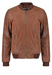 Solid Unwin Leather Jacket Cognac