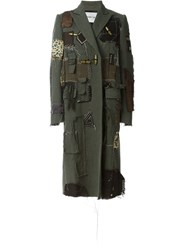 Heikki Salonen Fully Patched Long Coat Green