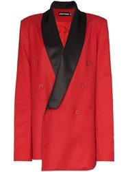House Of Holland X Woolmark Contrast Collar Double Red