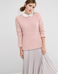 Fashion Union Oversized Jumper In Chunky Knit Pink