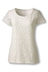 Lands' End Lace Front Tee White