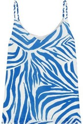 Iris And Ink Woman Susan Printed Twill Camisole Blue