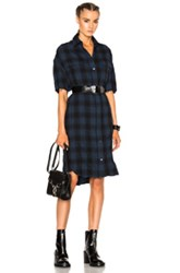 R 13 R13 X Long Sleeveless Dress In Blue Checkered And Plaid Blue Checkered And Plaid
