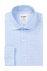 Ben Sherman Long Sleeve Tailored Slim Fit Mini Spot Dress Shirt Blue